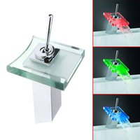 bathroom faucet discount - MOQ pc drop shipping Bathroom Discount Single Handle Chrome Waterfall Glass LED Faucet
