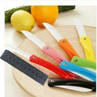 ceramic blade knife - Pocket Knife Knife Sharpener Kitchen Colorful Folding Environmentally Friendly Ceramic Fruit Peeler Never Rust Hard Sling Free Grinding Tool