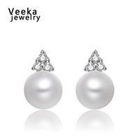 pearl - Veeka jewelry genuine pearl stud earrings for women pearl jewelry white gold plated stud earrings accessories gift