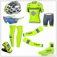Cheap cool Tour De France Tinkoff Saxo 2016 Cycling Jerseys Short Sleeve Road Bicycle Wear Seven Pieces Set With Gloves Arm Leg Shoes Cover Glass