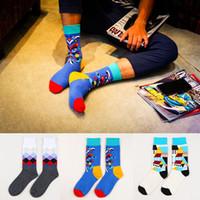 designer socks - Men s Casual Socks Plaid Checks House Doodles Fashion Trendy Designer Dress Sock Happy Creative Hip pop