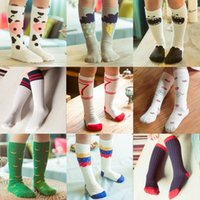 bamboo delivery - Korean Style Wind Children Socks Infant Boys And Girls Years Old Cotton Cartoon In Tube Socks To Knee Blending Random Delivery