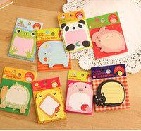 Wholesale cute animal notes Sticky Post It Paper sticker Memo Pad cartoon girls Design Office School Supplies Notes labels gifts