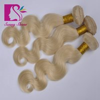 Wholesale Ali Queen Virgin human blonde hair extension A brazilian peruvian indian malaysian european russian remy hair weave body wave bundles