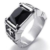 Wholesale 075050 jewelry Mens Stainless Steel Cross Ring Silver Black buy direct from china Tungsten Wedding Rings