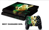 Cheap 1Set Sexy Cannabis Girl PVC Stickers for Playstation 4 PS4 Console 2 Pcs Vinyl decal Skin Stickers For PS4 Controller Games free shipping