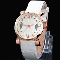 Wholesale Sexy Free Women Men - A piece lot Fashion Luxury Women Man Watch Stainless Steel Rose gold Leather Watch Sexy Lady Wristwatch High Quality Famous Brand Free Box G