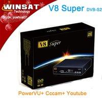Wholesale New DVB S2 Set Top box p hd decoder digital Satellite receiver V8 Super support Cccam and Newcam via Wifi Dongle