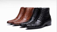 Wholesale 2014 fashion men s high top flat leather cowhide men prepare warm winter boots