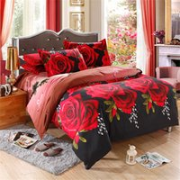 100% cotton bed sheet set - 3d bedding set flower Bedspread comforter cotton bedding sets duvet cover bed sheet pillowcase quilt queen red rose bedclothes bed set