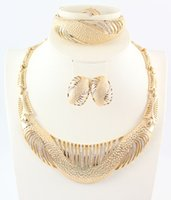 Wholesale Africa Dubai Jewelry Set For Women Gold Plated Crystal Beads Collar Necklace Earring Bangle Fine Ring Sets Party Costume Latest