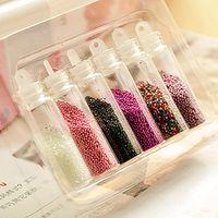 Wholesale Colored beads nail stickers nail jewelry nail polish kit caviar
