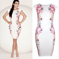 Wholesale Fashion Hot Sale Women Summer Sleeveless Bandage Bodycon Evening Sexy Party Cocktail Mini Dress S XL Flower Printing