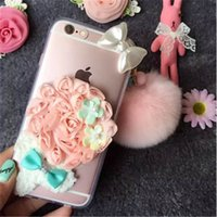 apple hair accessories - Iphone s G Plus Case Clear With Hair ball Flower On Back Shell Luxury Fashion Mobile Accessories For Apple Phone Cases Cover