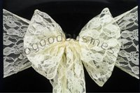 best service ivory - 100pcs Top Quality ivory Lace Chair Sash For Wedding Event Party Decoration lace sashes best quality and good custom service