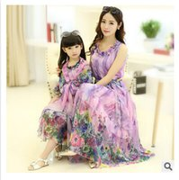 no brand clothing - 2015 newest summer mother and daughter clothes chiffon tulle floral Bohemian dresses Cotton lining mother daughter matching dresses2980