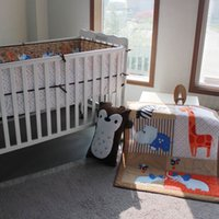 Wholesale 3D stereo embroidery giraffe hippo elephants bees Pieces Baby Crib Cot Bedding Set Quilt Bumper Fitted Sheet Baby Bedding