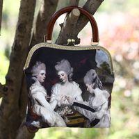 baroque oil paintings - Original design baroque oil paint digital print green portrait handmade handbags tote bag with picture green suede bag