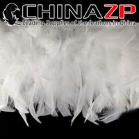 Wholesale Leading Supplier CHINAZP Crafts Factory yards cm inch in Width Cheap Bleached White Turkey Chandelle Feather Trim