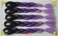 Wholesale Three tones color Black purple light purple jumbo xpression hair braids ombre kanekalon braiding hair hair