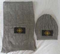 aps set - Is2015new twinset knitted hat scarf wool c for aps Men stone