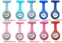 Wholesale 100pc DHL colors eco friendly silicone medical pocket nurse watch with pin white mail box packing