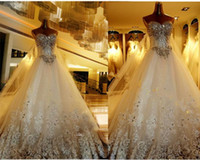 natural color diamond - Romantic White Wedding Dress Princess Bride Dress Strapless Floor Length Diamond Lace Wedding Dresses Vestido De Novia