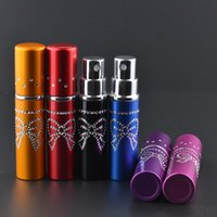 atomizers for perfume - 5 ML Mini Refillable Aluminium Glass Bottles For Perfume Bling Crystal Bow Empty Spray Perfumes Atomizer