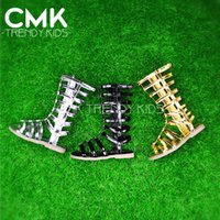 Summer gladiator - CMK KS100 New Arrival Girls Strappy Gladiator Comfort Flat Sandals Black Gold Silver With Star on Front Kids Summer Shoes