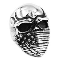 Wholesale American Flag Infidel Skull Biker Ring Stainless Steel Jewelry Gothic Skull Motor Biker Men Ring SWR0368A
