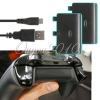Cheap One Piece Game Rechargable Wireless Controller Cable With 2PCS 2400mAH Batteries Battery Power Plus For XBOX ONE Free Shipping
