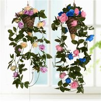 Wholesale Artificial Silk Flowers Bud Roses Plastic Rattan Vines Simulation Blooming Diamond Rose Flower Leaves Pipeline Wedding Decoration