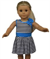 18 doll - 2015 new style inch American girl doll clothes of girl blue striped dress