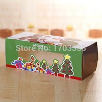 Wholesale 200pcs Window open christmas tree cupcake boxes with handle Muffin box santa style muffin box New