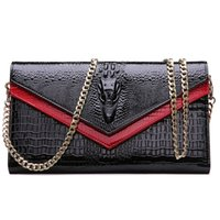 Cheap 2016 Fashion Lady Women Shoulder Bags Messenger Bag Genuine Leather Alligator Chains Crocodile Clutch Purse Wallet Holder Handbag Envelope