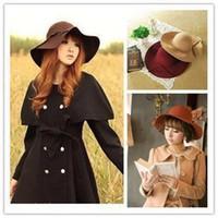 Wholesale Vintage Retro Hat Cap Women Ladies Floppy Wide Brim Wool Felt Fedora Cloche Outdoors Hats Caps For Girls Color