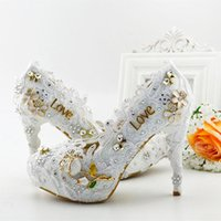 beautiful love appliques - New beautiful white lace appliques wedding Shoes round toe pearls High Heels Love rhinestone Bridal dress Shoes prom party pumps