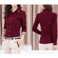 Wholesale New Fashion Women OL Shirt Long Sleeve Turn down Collar Button Blouse Tops