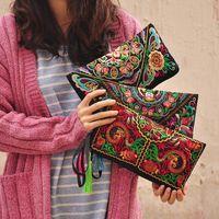 Wholesale Women Ethnic National Retro Butterfly Flower Bag Handbag Coin Purse Embroidered Bag Lady Handbag BG140