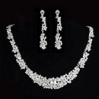 Wholesale 2015 Twinkle Plated Crystal Wedding Bridal Jewelry Sets Rhinestone Allloy Plated Necklace and Earrings piece NE037 Sample