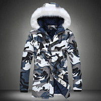 Wholesale Fall Fashion camouflage parka men military medium long Men s Clothing thickening cotton padded winter jacket men with fur a hood