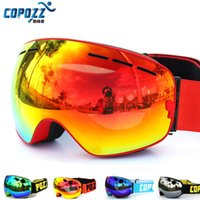 anti lens fog - New COPOZZ brand professional ski goggles double lens UV400 anti fog big ski glasses skiing snowboarding men women snow goggles