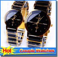 Wholesale Brand New LONBO Luxury Watches Rhinestone Ceramic Black White Women Men Crystal Wrist Watch Couple Watches
