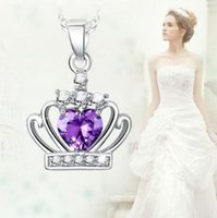 Pendant Necklaces amethyst heart pendants - Crown Crystal natural amethyst necklace female pure silver jewelry design fashion necklaces pendants pendants gift