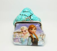 Wholesale Girls D Cartoon Frozen Coin Purse with iron button Anna Elsa Olaf shell bag wallet Purses children child Gifts For Holidays DHL