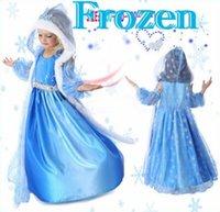 Wholesale Girls Christmas Frozen Dress Elsa Anna Autumn Princess Brand Children Costumes Dress With Hoodies Cape DHL Free