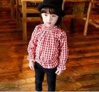 Cheap 2016 Spring Gilrs Ruffles Long Sleeve T-shirt Plaid Grid Children Tunic Tops Kids Clothes Jacket Outwear Baseball Overcoat Red Blue K6306
