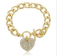 alloy braclet - 2015 New design Full rhinestone heart bracelets fashion brand K gold plated crystal heart charm braclet bangles for womens ladies
