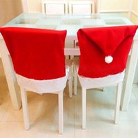 Wholesale FG1511 Santa Hat Chair Covers Red Christmas Dining Chair Cover Decoration Hot Sales cm x cm