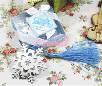 Wholesale 20 Sets Metal Satin Tassels Snow Bookmark snowflake Bookmarks Surface Color Different Wedding Favors Party Gifts with Card